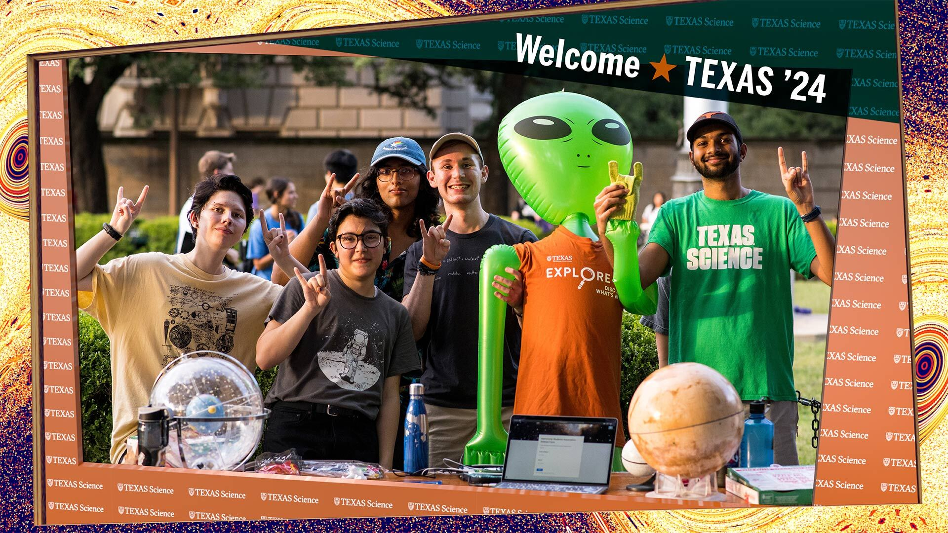 Diverse UT Texas Science students smiling at the camera