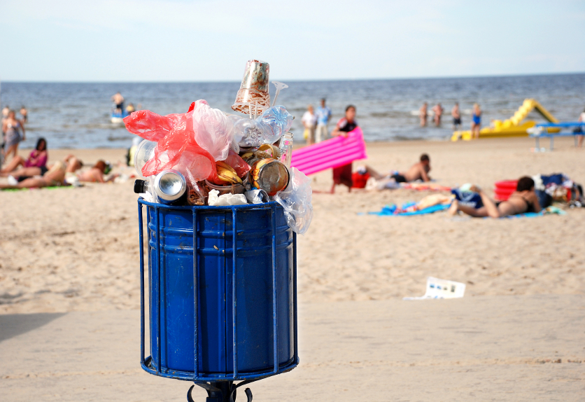 iStock photo of garbage can on beach